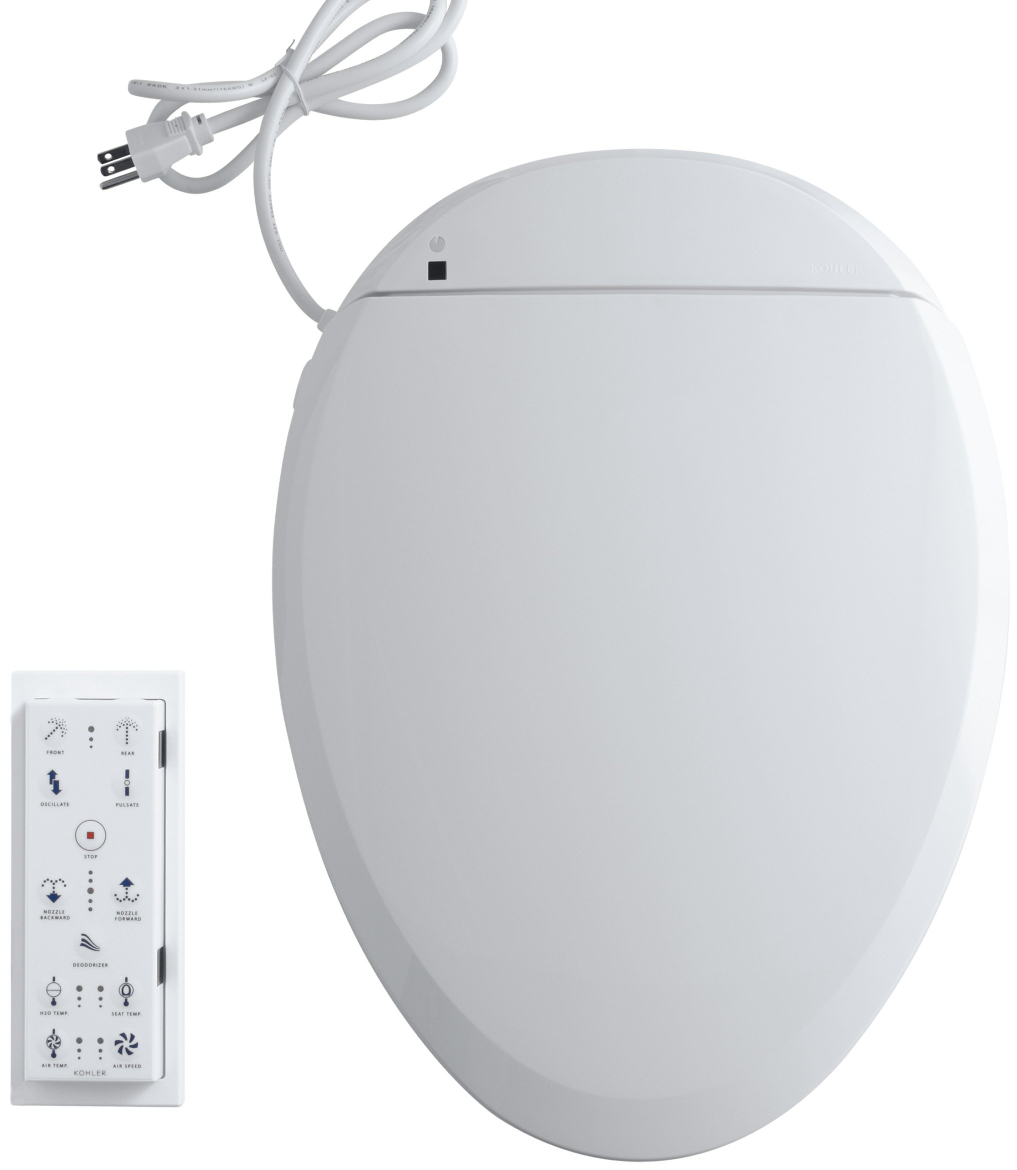 KOHLER K-4744-0 C3-201 Elongated Bidet Toilet Seat with In-Line Heater and Remote Controls, White by Kohler