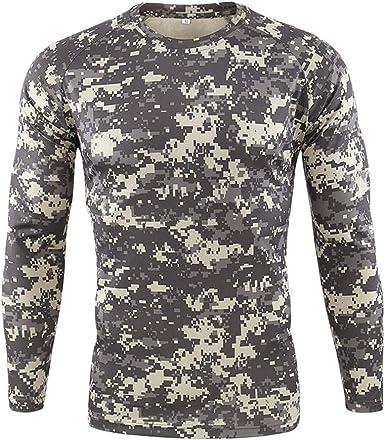 Hombre Militar Táctica Camisa,Ejercito Camuflaje BDU Camisas de Combate Manga Larga Deportes al Aire Libre Cuello Redondo Delgado Ajuste Camiseta para Caza Airsoft Paintball: Amazon.es: Ropa y accesorios