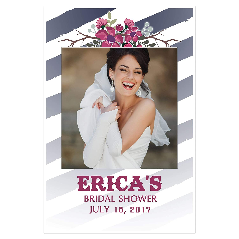Blue White Stripes and Flowers Bridal Shower Selfie Frame Poster