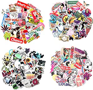 Cool 100-400Pcs Random Stickers Pack Vinyl Skateboard Guitar Travel Stickers Car Bicycle Luggage Decal Graffiti Patches Skateboard Laptop Stickers (300pcs)