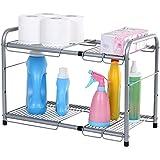 SONGMICS 2-Tier Expandable Under Sink Storage Shelf Kitchen Bathroom Organizer Silver UKSS01G