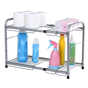 songmics 2 tier expandable under sink storage shelf kitchen bathroom organizer silver ukss01g - Bathroom Organizers Under Sink