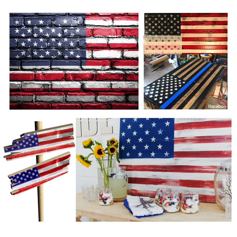Star Stencil 50 Stars American Flag Stencils for Painting on Wood, Fabric, Airbrush,Reusable Starfield Stencil, (2 Large, 2 Medium, 2 Small) by Etyhf