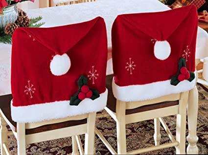 Stupendous Santa Hat Christmas Chair Covers Set Of 2 By Collections Squirreltailoven Fun Painted Chair Ideas Images Squirreltailovenorg