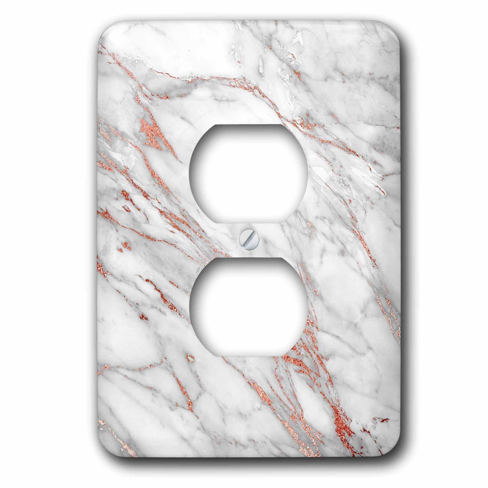 3dRose Uta Naumann Faux Glitter Pattern - Luxury Grey Copper Gem Stone Marble Glitter Metallic Faux Print - Light Switch Covers - 2 plug outlet cover (lsp_268836_6)