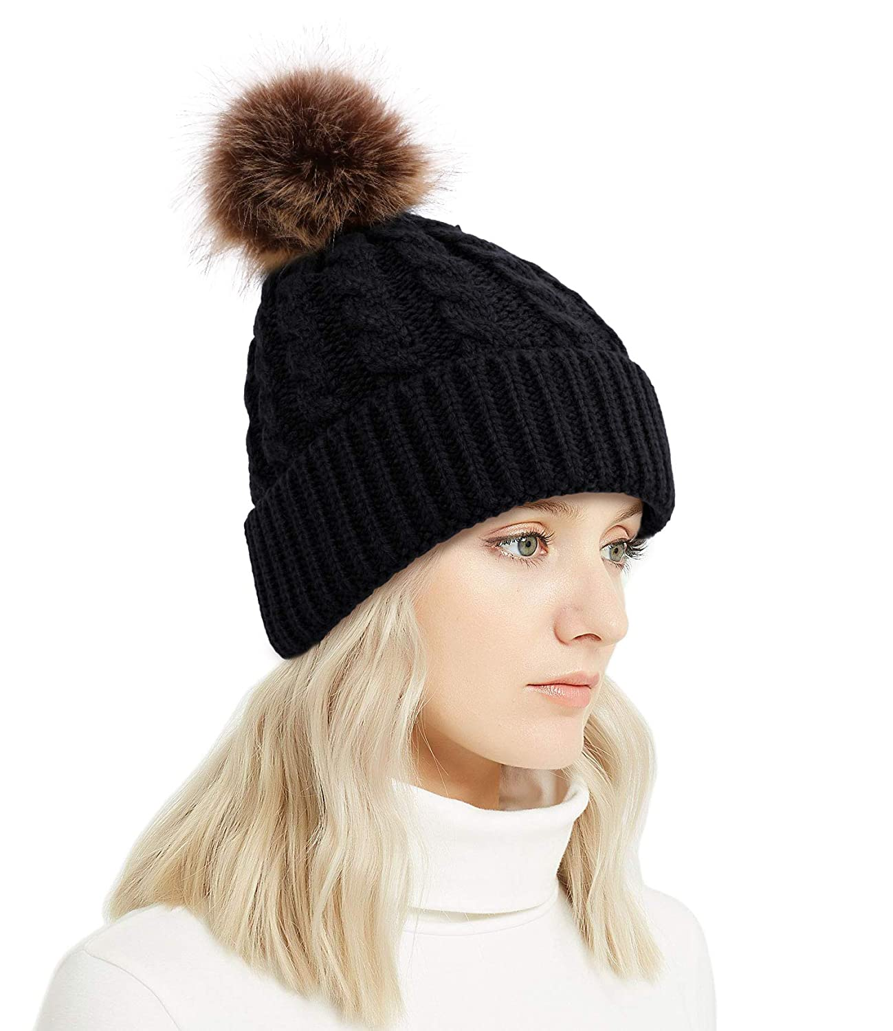 b32637860 Lullaby Winter Rib-Knit Beanie Chunky Baggy Hat for Women Snow Cable Knit  Skull Ski Cap with Faux Fur Pompom