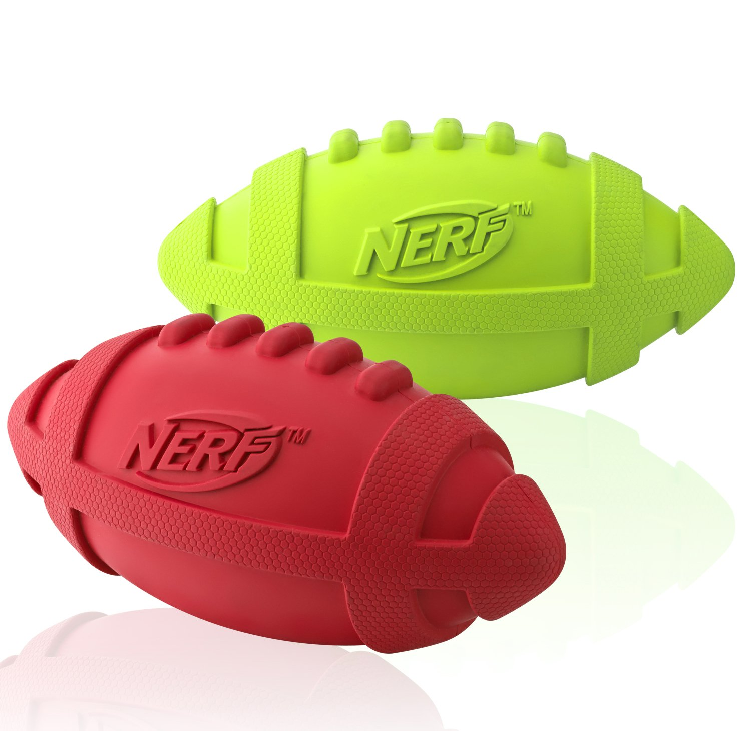 Nerf Dog Rubber Squeak Football, 7-Inch, (2-Pack), Green and Red