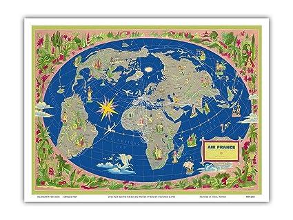 Amazon.com: World Map Planisphere - France - Le Plus Grand ...