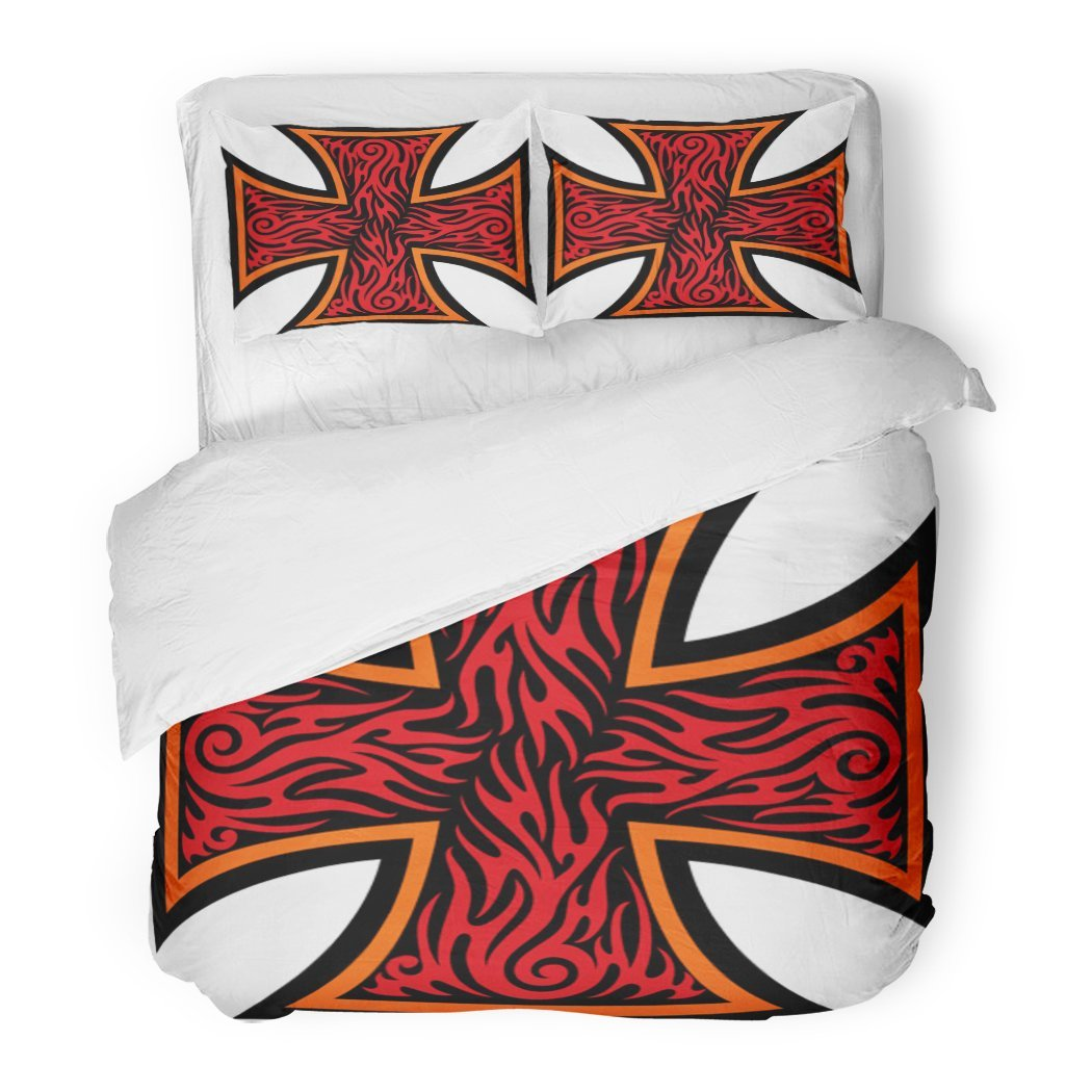 SanChic Duvet Cover Set Maltese Iron Cross in Tribal Tattoo Style Celtic Catholic Christian Decorative Bedding Set with 2 Pillow Shams Full/Queen Size