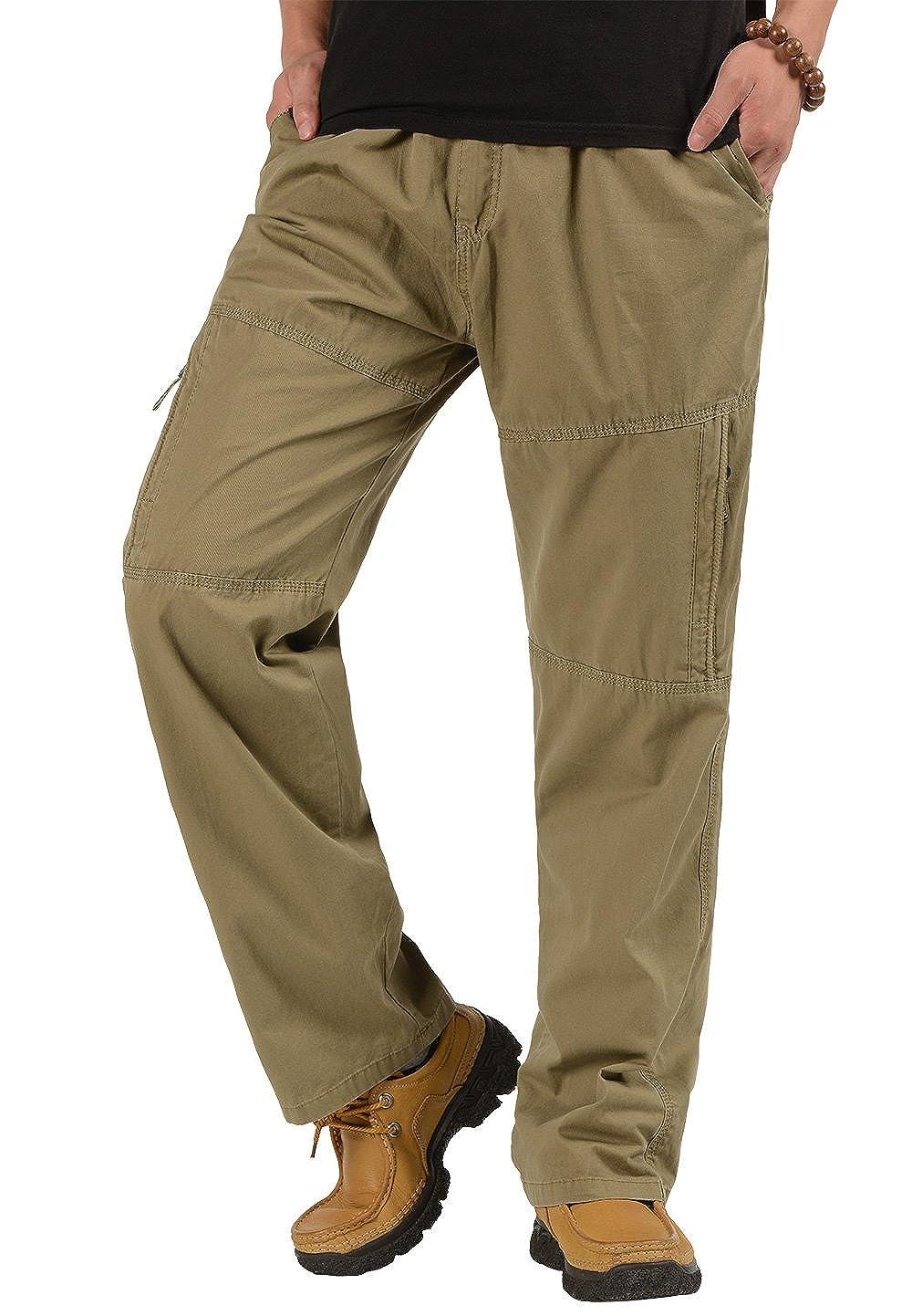 Men's Cotton Cargo Pants Casual Full Elastic Waist Work Pant CardanWolf