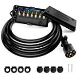 Nilight Heavy Duty 7 Way Inline Trailer Plug with 7 Gang Junction Box - 8 Feet, Trailer Connector Cable Wiring Harness…