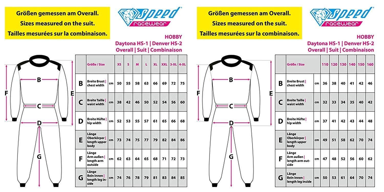 Aktuelles Modell 110 Kindergr/ö/ße Karting Suit Daytona Speed Kartoverall Schwarz