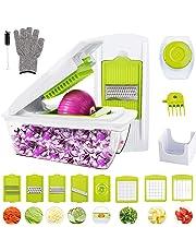 Mandoline Cuisine,WOKOKO 8 en 1 Multifonction Professionnelle Coupe légumes, coupe fruits, coupe pommes de terre avec des couteaux Gants(Ne peut pas être utilisé pour le nettoyage du lave-vaisselle!)