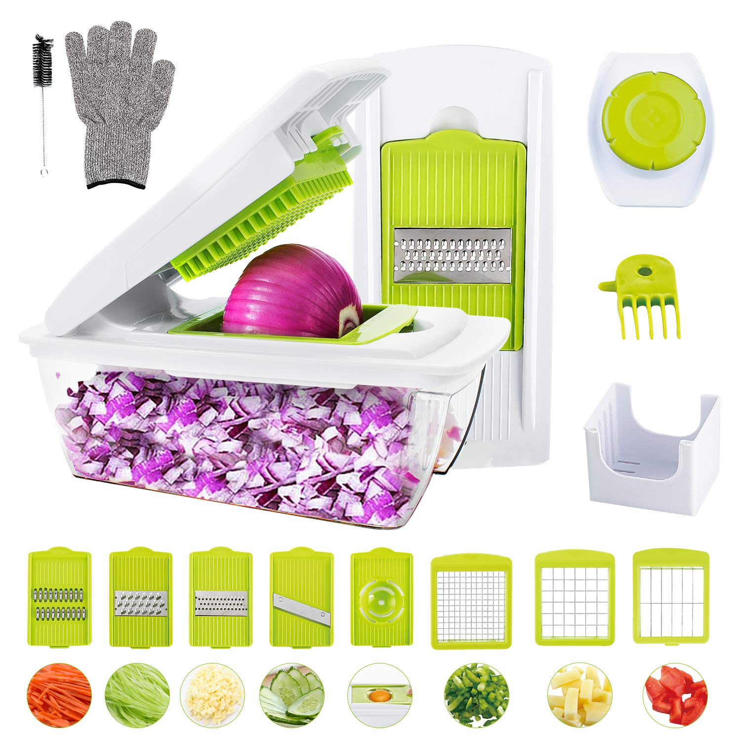 Vegetable Chopper, WOKOKO Food Chopper Cutter Onion Slicer Dicer Veggie Slicer Manual Mandoline for Garlic, Cabbage, Carrot, Potato, Tomato, Fruit, Salad by WOKOKO