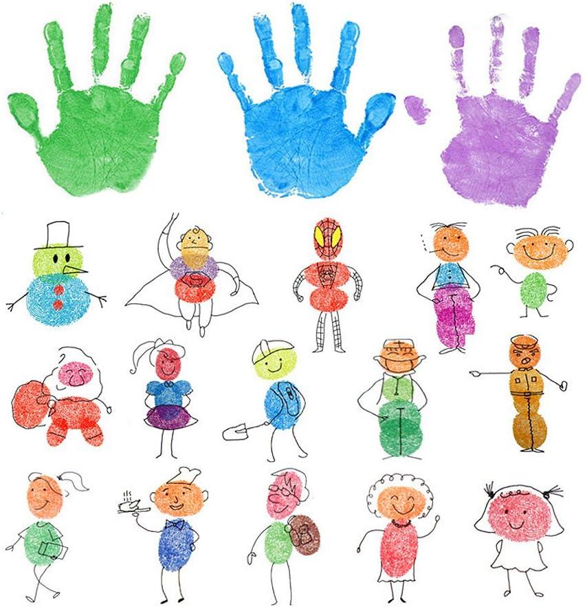 SUPVOX Washable Stamp Pads Fingerprint Rainbow Color Craft Ink Pad Set for Kids Card Making DIY Scrapbooking 12PCS