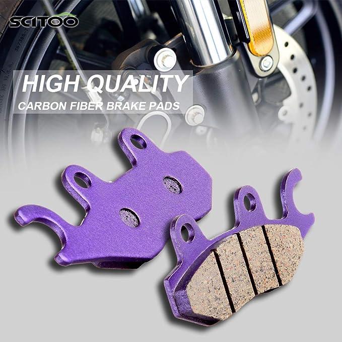 SCITOO Kevlar Carbon Fiber Brake Pads Fit for 05 06 07 08 Daelim Roadwin,04 06 Honda,01 02 03 04 05 06 07 08 09 10 11 12 13 14 15 Kawasaki,10 11 KYMCO Quannon 150,02 03 04 05 MZ 125RT