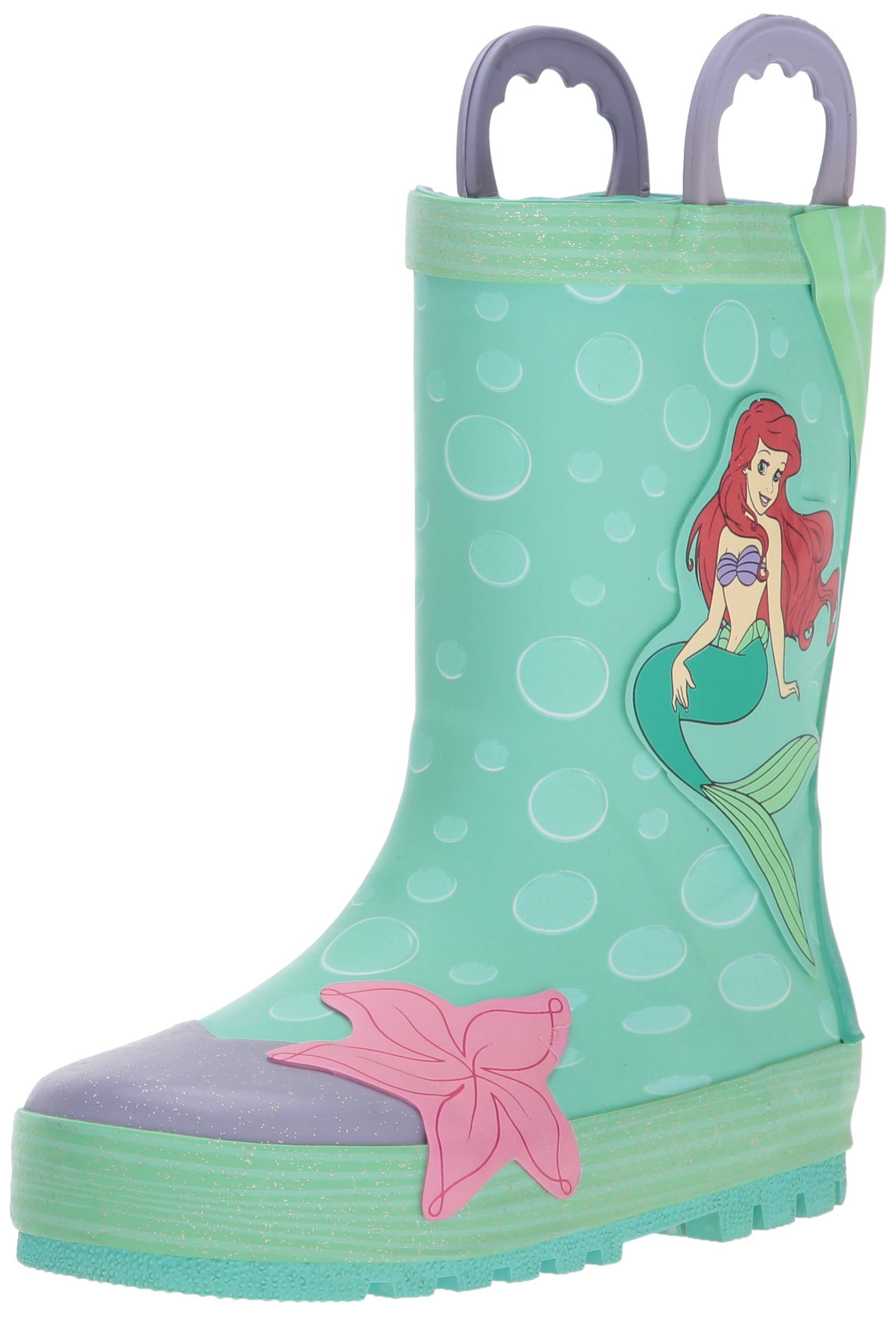 Western Chief Kids Waterproof Disney Character Rain Boots with Easy on Handles, Ariel Disney Princess, 12 M US Little Kid