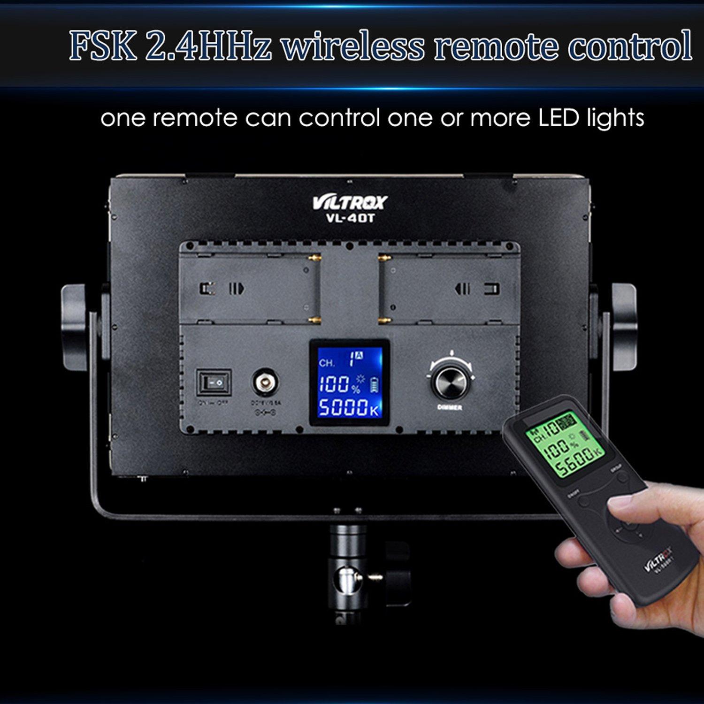 Estudio Fotogr/áfico de Vdeo Continua de luz LED para Fotograf/ía 3300-5600K 40W Viltrox VL-40T Pro Dimmable Ultra Alta Potencia de la c/ámara//videoc/ámara LED de luz de v/ídeo