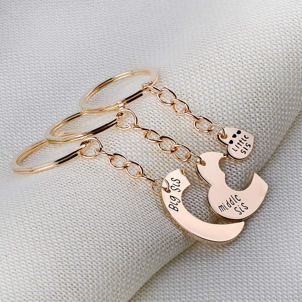 3 Pieces Heart Keychain Set Big Sis Middle Lil Sister Love Forever Necklace Family Jewelry Accessories