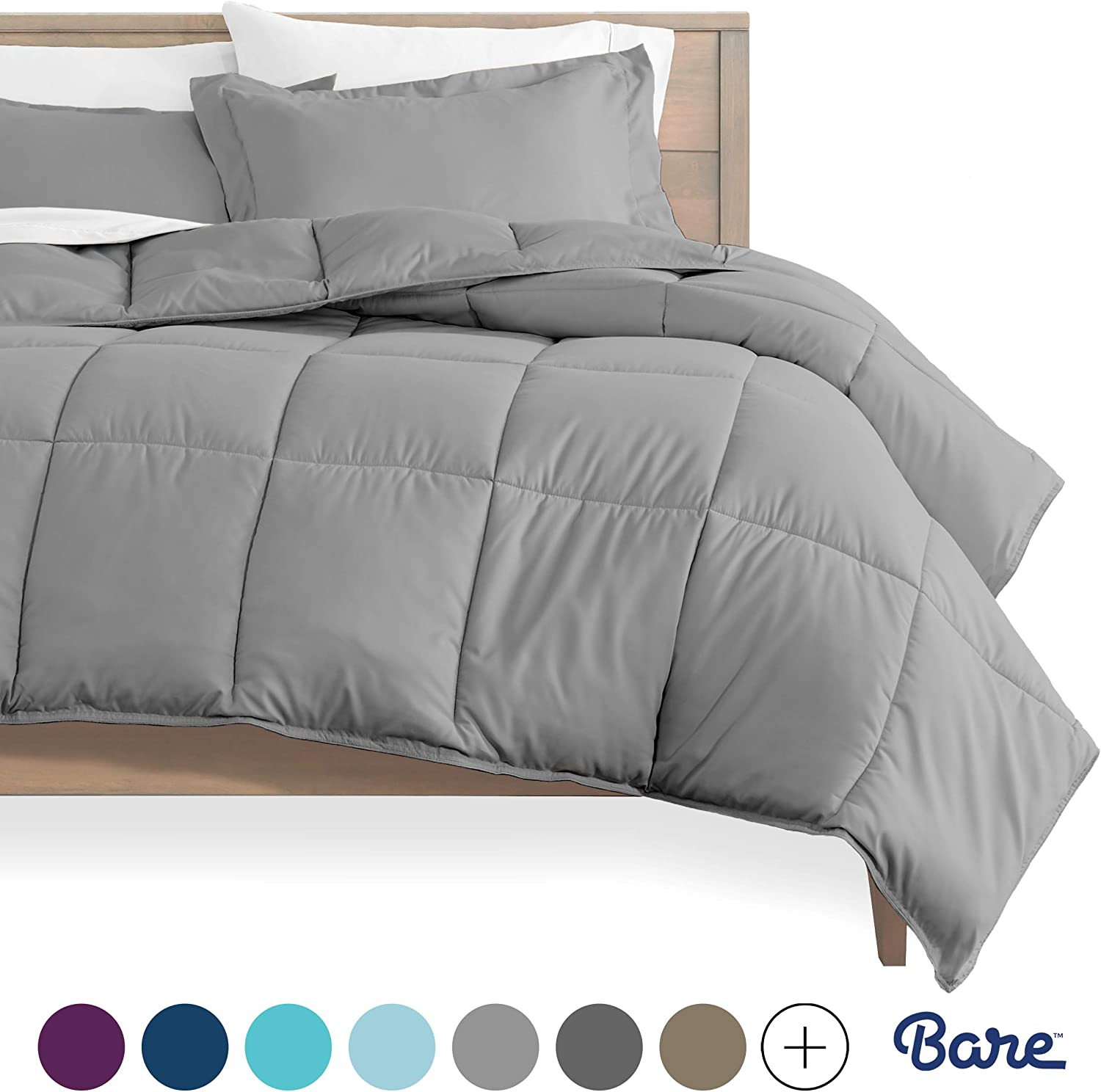Bare Home Comforter Set - Queen Size - Goose Down Alternative - Ultra-Soft - Premium 1800 Series - Hypoallergenic - All Season Breathable Warmth (Queen, Light Grey): Home & Kitchen
