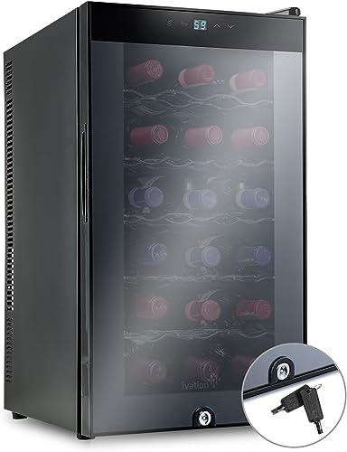 Ivation 18 Bottle Thermoelectric Wine Cooler/Chiller - Door Lock