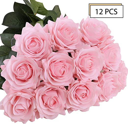 144Pcs Artificial Flower Rose Heads Silk Plant Floral Wedding Decor Pink #1