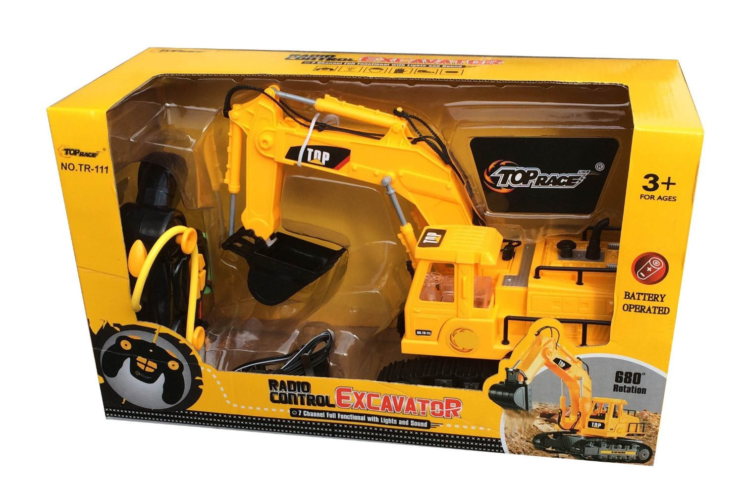 Amazon Top Race 7 Channel Full Functional RC Excavator Battery Powered Electric Remote Control Construction Tractor With Lights Sound TR 111
