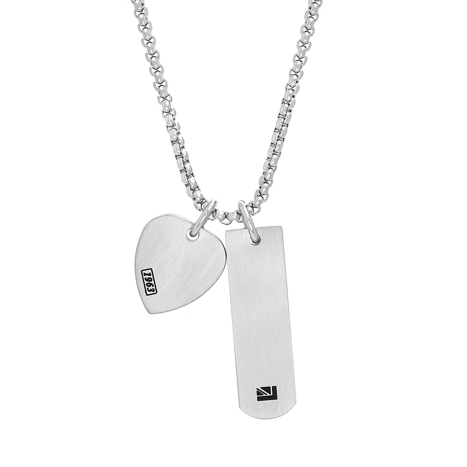 Ben Sherman Men's Guitar Pick and Geo Shaped Bar Charm Necklace with Stainless Steel Box Chain, 25 BSNS567980