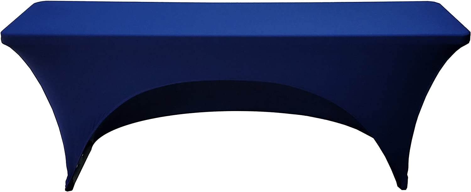 6 Foot Spandex Cover for 18 x 72 Rectangular Training Tables(Navy Blue)