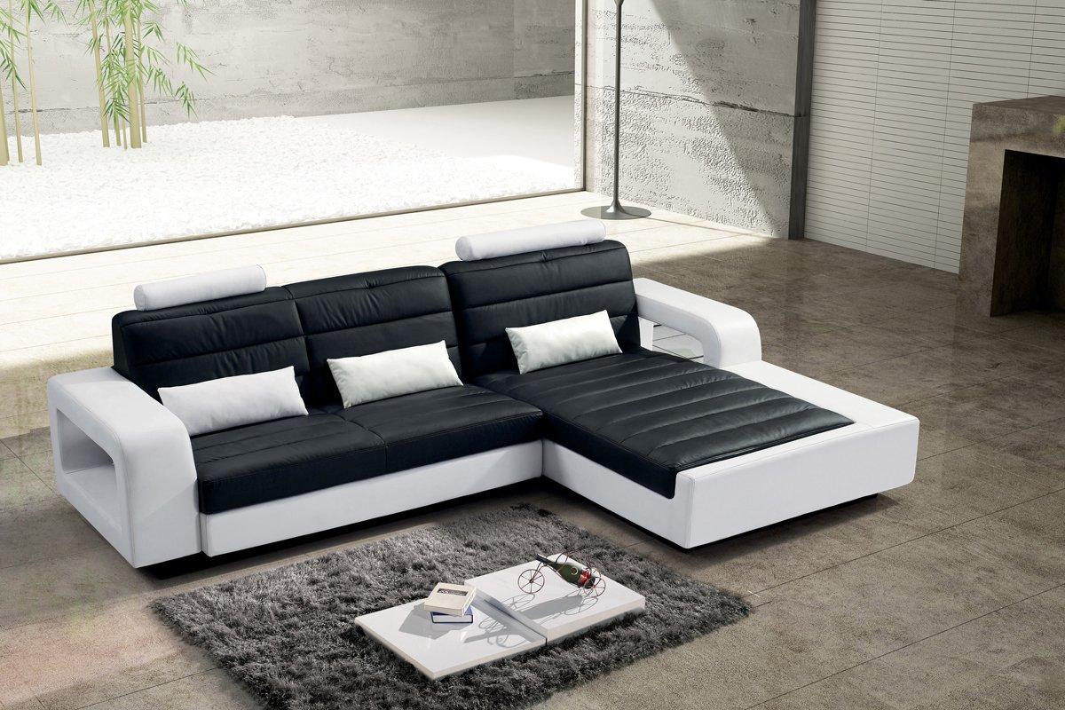 SAM® Sofa New York In Futuristischem Design In Der Ausführung Schwarz / Weiß  Sitzfläche In Abgestepptem Design Und Angenehmer Polsterung Größe Ca.