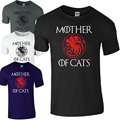 c78a9cb3 Mother of Cats Game of Thrones Comedy Ladies Loose Fit Casual T-Shirt (Navy  - M) Black: Amazon.co.uk: Clothing