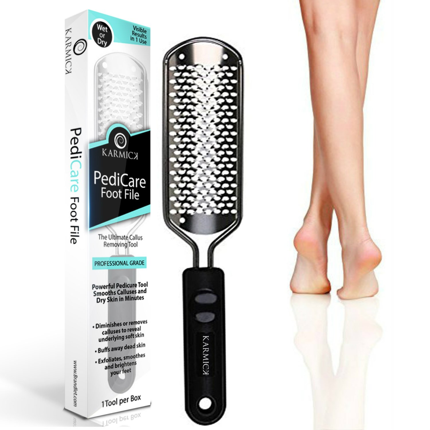 Pedi Care Foot File for Feet Callus Removal Foot Rasp - Works Wet and Dry - Salon Grade Pedicure Callus Trimmer To Remove Hard Skin and Smooth Dry Cracked Heels by Karmick (Coarse File)