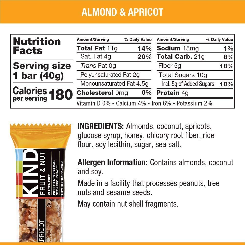 KIND Bars, Almond & Apricot, Gluten Free, Low Sugar, 1.4oz, 12 Count by KIND (Image #5)