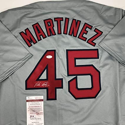 save off a0da2 a6d64 Autographed Pedro Martinez Jersey - Grey COA - JSA Certified ...
