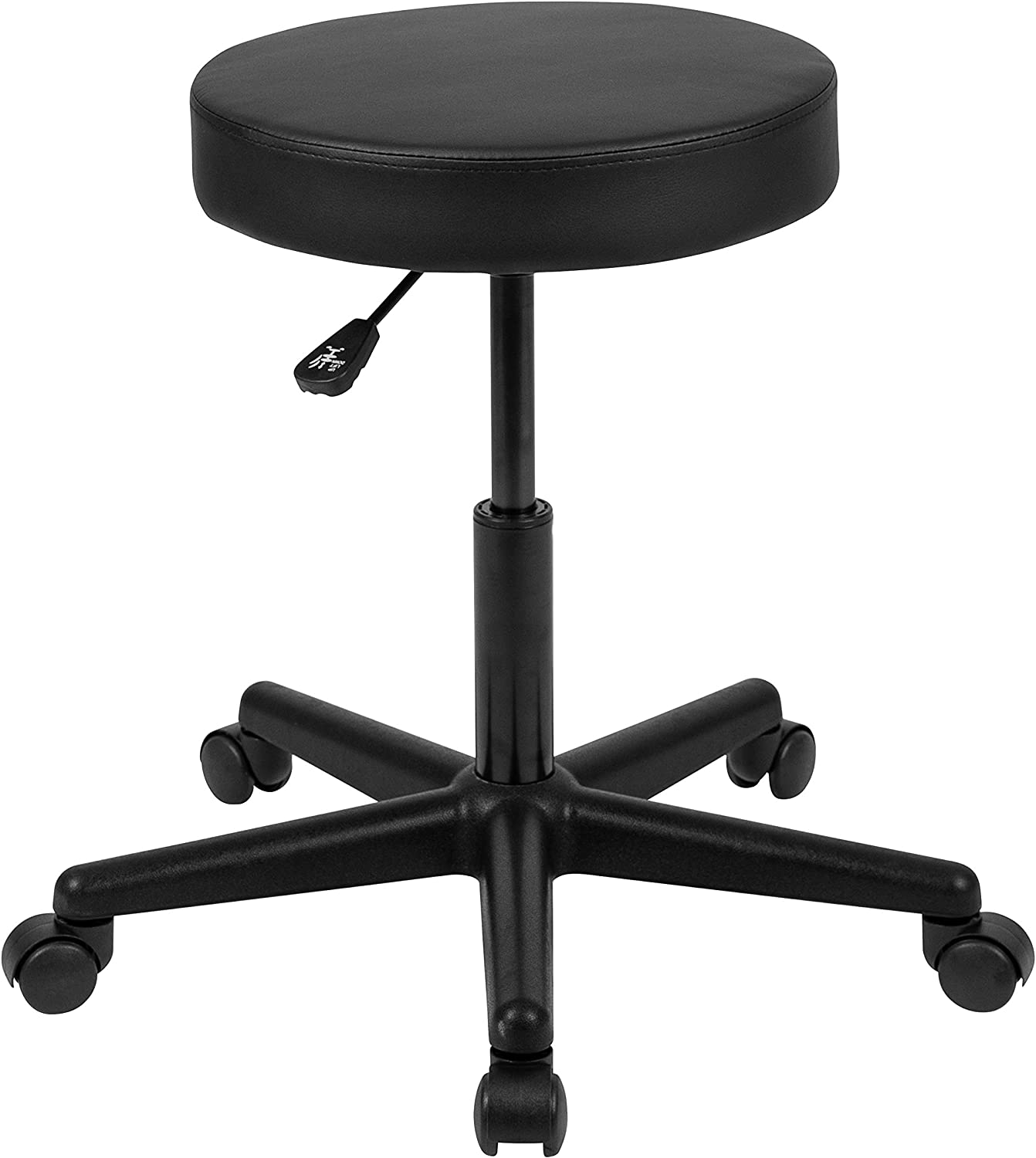 Flash Furniture HERCULES Series Black Backless Medical Doctor Stool with Antimicrobial / Antibacterial Vinyl, Molded Foam Seat and Nylon Base