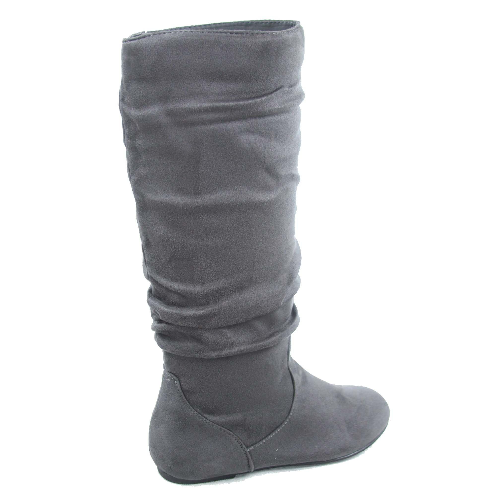Top Moda Data-1 Women's Shoes Cute & Comfort Round Toe Flat Heel Slouchy Mid Calf Boot (7, Grey) by Top Moda (Image #3)