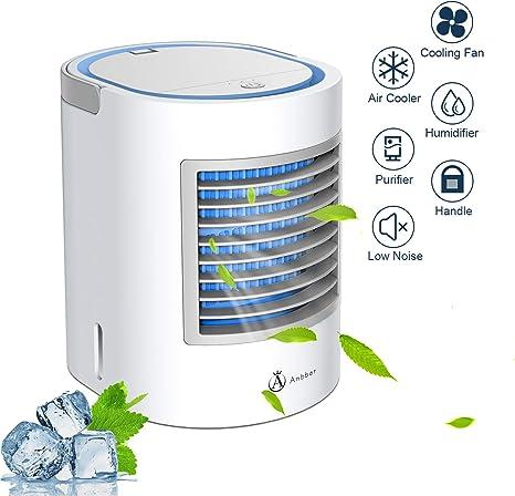 Anbber Aire Acondicionado Portátil, Mini Enfriador Portátil USB Aire Acondicionado con 4 en 1 Ventilador Purificador Humidificador, 7 Colores, 3 Velocidades Ajustable para Hogar Oficina Coche: Amazon.es: Hogar
