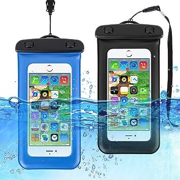 HAISSKY Funda Impermeable Móvil [2 Unidades], IPX8 Funda Bolsa Impermeable para Móvil Universal para iPhone XS/XS MAX/X/8/8 Plus/7/7 Plus,P9/P10, BQ ...