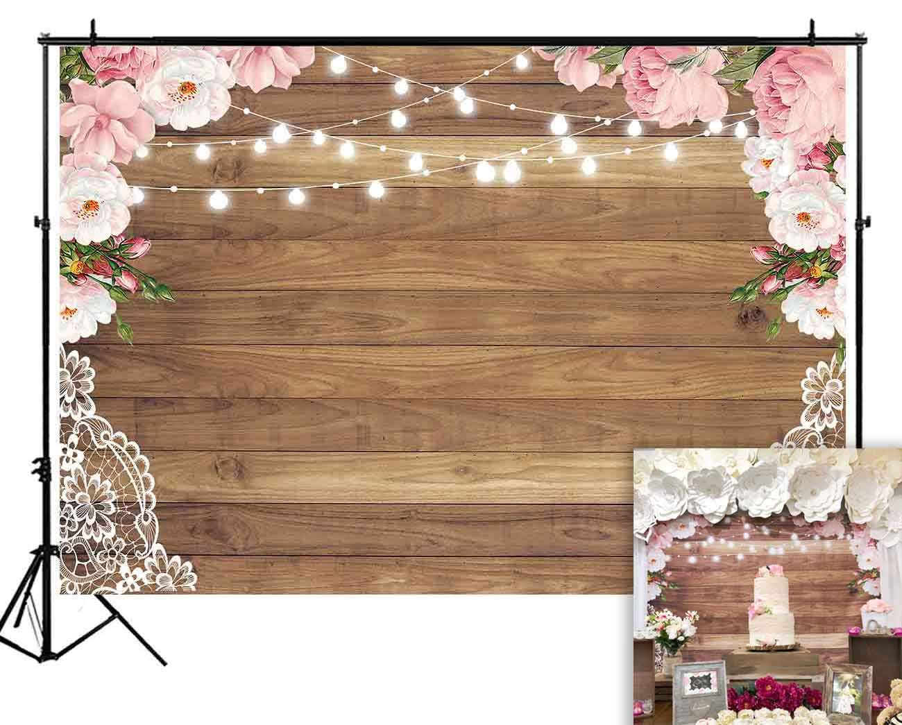Funnytree 7X5ft Soft Fabric Flowers Wood Lace Rustic Backdrop Durable No Wrinkle Wedding Floral Photography Background Wooden Board Floor Bridal Shower Baby Birthday Party Banner Photo Studio Props by Funnytree