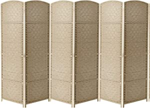 Sorbus Room Divider Privacy Screen, 6 ft. Tall Extra Wide Foldable Panel Partition Wall Divider, Double Hinged Room Dividers and Folding Privacy Screens, Diamond Double-Weaved (6 Panel, Beige)
