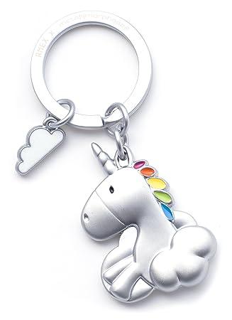 RMEX Llavero Unicornio Que Vuela en Las Nubes Arco Iris, Llavero, Cuentos de Hadas, mágico, Final Mate