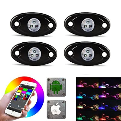 LED Rock Light Kits with 6/8 Pods RGB Lights for for Trucks, Jeeps, SUV, ATV - Offroad, Crawling, Climbing Waterproof, SoundSync, Bluetooth App Controls Lamp Waterproof (4 pods): Automotive