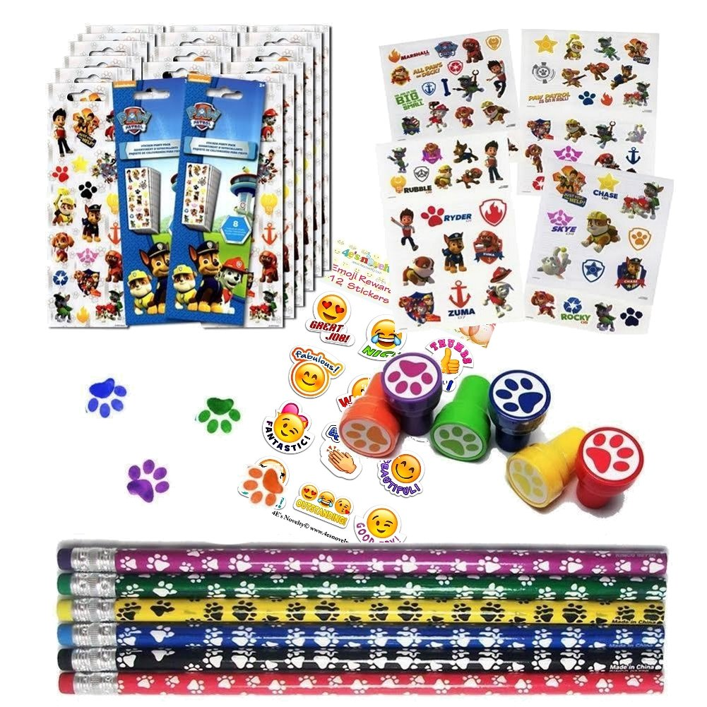 Paw Patrol Birthday Party Favor Set 12 (12 Paw Print Stampers, 12 Paw Print Pencils, 16 Paw Patrol Stickers Sheets, 75 Paw Patrol Tattoos + A Bonus of a Pack Of 12 Emoji Stickers)