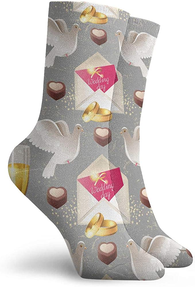 Peace Dove Chocolate Cake Champagne Fashion Dress Socks Short Socks Leisure Travel 11.8 Inch