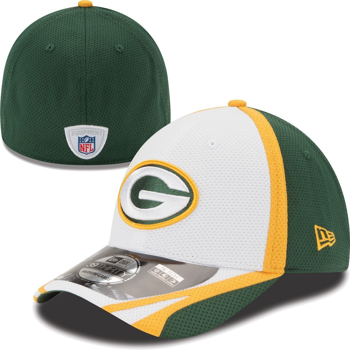 Green Bay Packers新しいEra 39thirty 2014公式トレーニングフレックスフィット帽子 – ホワイト XL  B00KPG65NK