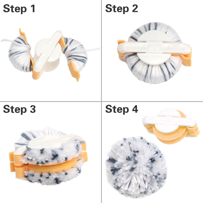 Kit de fabrication de pompons, 4tailles, accessoire pour fabriquer soit même des pompons en laine, avec ciseaux de couture Aboat