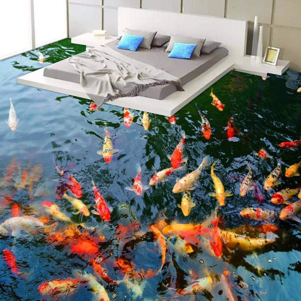 3D Custom Wall Sticker Waterproof Pond Carp Painting Photo Wallpaper for Walls Home Decor Mural Post 350x250cm