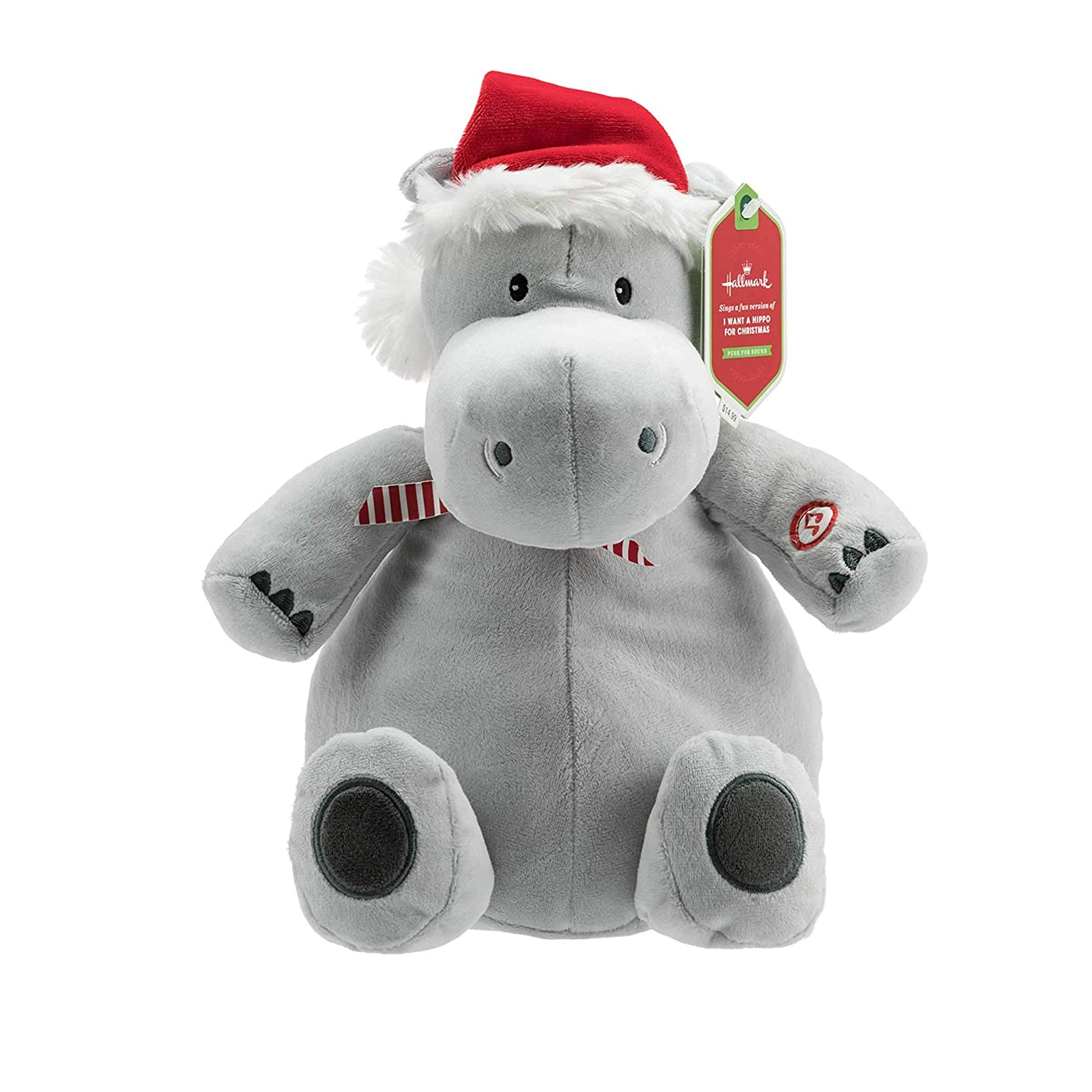 Amazon.com: Hallmark Plush Stuffed Hippopotamus Sound, Christmas ...