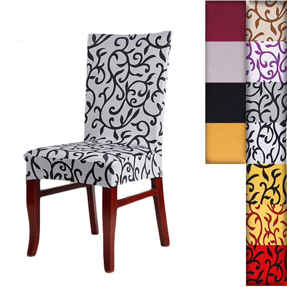 SHZONS™Super Fit Stretch Removable Washable Short Dining Chair Cover Protector Seat Slipcover for Hotel, Dining Room, Ceremony, etc.(GrayBlack)