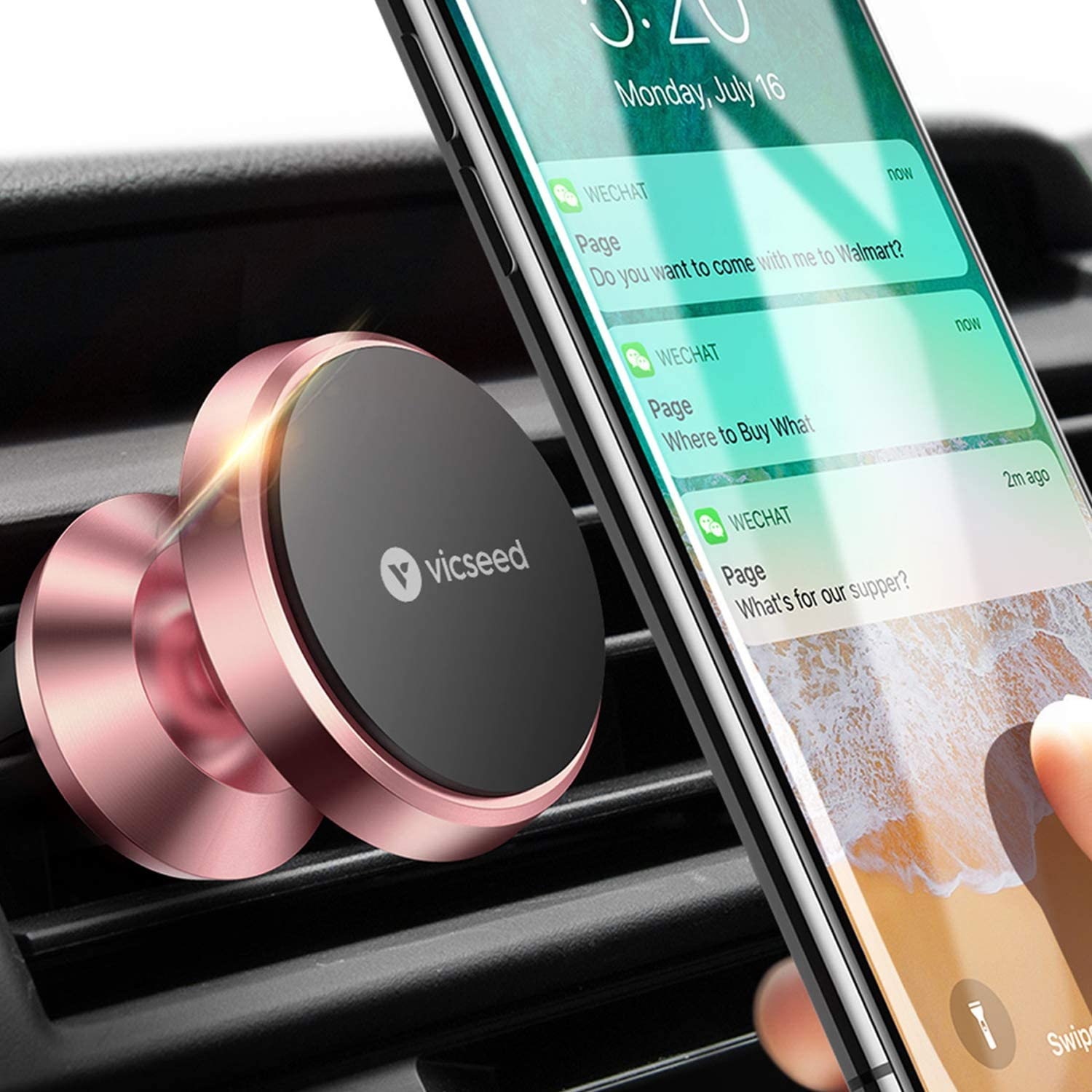 VICSEED Car Phone Mount Magnetic Phone Car Mount Magnet Air Vent Mount Phone Holder for Car Compatible with iPhone 11 Pro XS Max XR X 8 7 6 Plus Samsung Galaxy S20 Note20 Note10 S10 S10+ All Phone